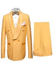 Collar Double Dreasted Suit or Tuxedo in Gold Mustard