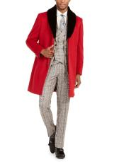 Red Three-button Closure Fully Lined Faux-Fur Trim Overcoat