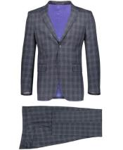 Plaid ~ Windowpane Pattern Graduation Suit For boy /