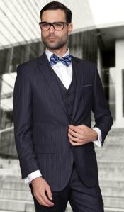 Pinstripe Slim Fit Graduation Suit For Men