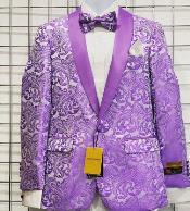 Mens Lavender Paisley Tuxedo Jacket Blazer