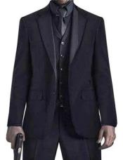 Mens John Wick Vested Black Suit