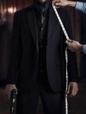 Mens John Wick Vested Black Suit