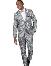 Gray ~ Grey Paisley Floral Suit or Tuxedo Jacket