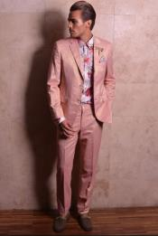Buttons Single Breasted Rose Gold Suits for Men