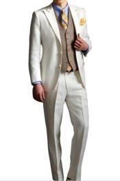 1920s Fashion Clothing Single Breasted Peak Lapel Ivory Suit