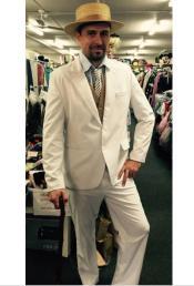 Single Breasted Peak Lapel Cream Suit