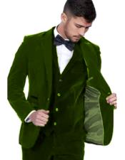 Dark Green Color Single Breasted Peak Lapel Velvet Vested