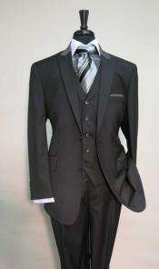Pocket Peak Lapel Black Suit With Grey Collar Vested
