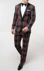 Mens Green Tartan Tuxedo with Contrast
