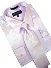 KV901 Satin Lavender Dress Shirt Tie Hanky Set