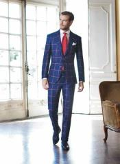 order Navy and Big Pink Plaid Windowpane Suit Coming