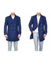 Indigo Front-button closure Wool Three Quarter Carcoat