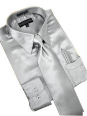 PW782 Satin Silver Grey Dress Shirt Tie Hanky Set