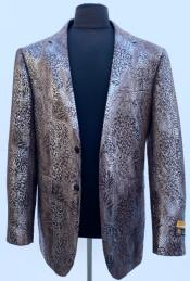 Brown Exotic Skin Single Breasted Blazer