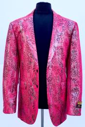 Pink Peak Lapel Alligator Skin Pattern
