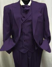 Eggplant Two Button Peak Lapel Suit