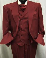 Burgundy Peak Lapel Single Breasted Suit