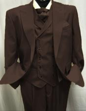 Mens Dark Brown Peak Lapel