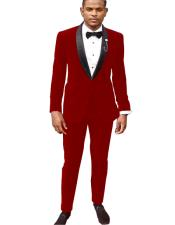 Suit / Tuxedo Jacket and Velvet Pants Hot Red