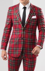 Plaid - Checkered Suit Red Tartan Slim Fit Suit