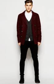 Wool Burgundy ~ Wine Wool Coat ~ Car Coat