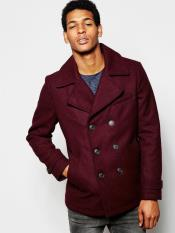Burgundy ~ Wine Six Button Wool Peacoat ~ Car