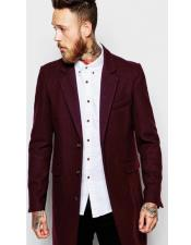 Single Breasted Notch Lapel Wool Burgundy ~ Wine Car