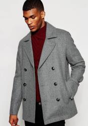 Wool Light Grey ~ Wine Wool Coat ~ Car