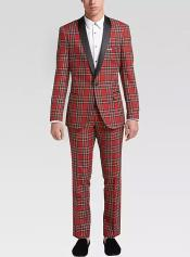 Tartan Shawl Lapel One Button Fully Lined Suit