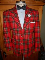 Tartan Shawl Lapel One Chest Pocket