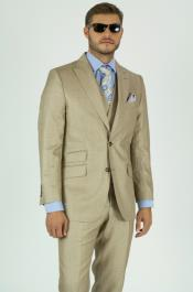 Beige Peak Lapel Discounted Cheap Price Classic Fit Suit