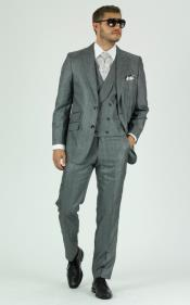 Gray Double Breasted Vest with Shawl Lapel Suit