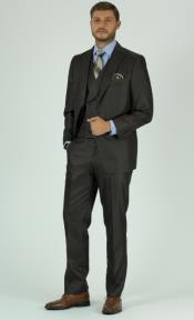 Brown Textured Solid Peak Lapel 3