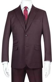 Mens Burgundy Side Vents Flat Front