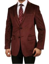 Velour Blazer Jacket Burgundy ~
