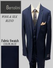 Bertolini Wool/Silk Blue Solid Vested