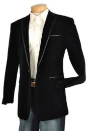 Mens Black Velvet Velour Blazer Jacket