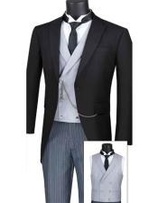 MTC-1 Modern Fit Mens Tail Style Tuxedo With Striped