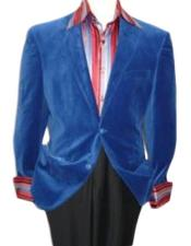 Velour Blazer Jacket  Royal Blue