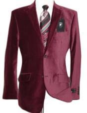Velour Blazer Jacket Velvet Burgundy ~