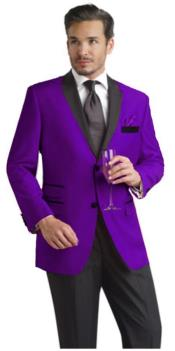 Velour Blazer Jacket Purple Two Button