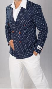 Navy Slim Length Side Vents Polka Dot Dinner Jacket