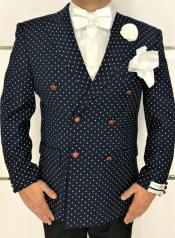 Cheap Priced Navy Six Button Polka Dot Blazer