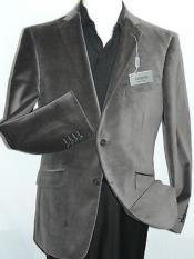 Velour Blazer Jacket  Mens Gray~Grey