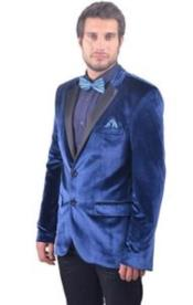 Velour Blazer Jacket Mens Navy ~