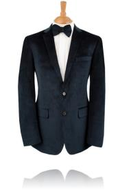velour Blazer Jacket 2 Button Blue