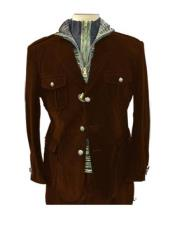 Mens Brown Four Button Two Flap