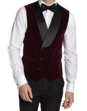 Breasted Velvet Vest Burgundy