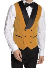 Double Breasted Velvet Vest Yellow